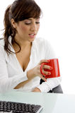 Front view of attorney looking at coffee mug Stock Photos