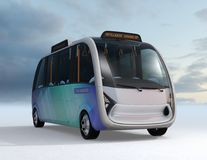 Front view of autonomous shuttle bus. Original design for public transit system concept. 3D rendering image Royalty Free Stock Photo