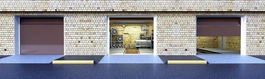 Front View av den ampty inre för garage 3D med öppnad rulldörr 3 arkivbild