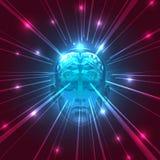 Front View av det abstrakta mänskliga huvudet med en hjärna Arkivfoton