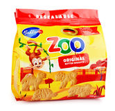 Front view of Bahlsen Leibniz Zoo Original butter biscuits isolated on white Stock Photos