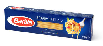 Front view of Barilla Spaghetti n.5 italian pasta isolated on white background. MOSCOW, RUSSIA - FEBRUARY 1, 2017: Front view of Barilla Spaghetti n.5 italian Royalty Free Stock Images
