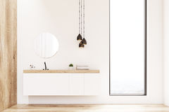 Front view of bathroom sink, wood Stock Image
