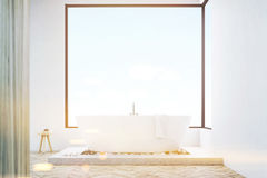Front view of bathroom with wooden wall Stock Photos