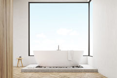 Front view of bathroom with wooden wall, toned Royalty Free Stock Images