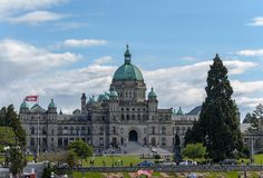 Front view of BC Legislature building from inner harbour Royalty Free Stock Photo