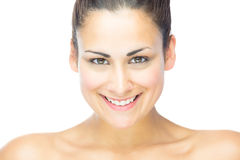 Front view of beautiful brunette woman smiling at camera Royalty Free Stock Photo