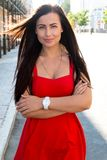 Front view of a beautiful  long haired women outdoors Royalty Free Stock Photo