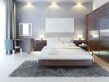 Front view of the bedroom in a modern style. Royalty Free Stock Image