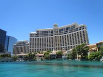 Front view of Bellagio hotel and pool in Las Vegas stock photography