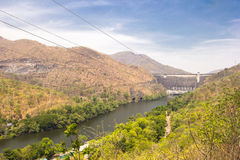 Front view of Bhumibol dam Tak,Thailand. Royalty Free Stock Photography