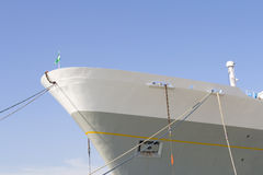 Front view of big cruiseliner in harbor Royalty Free Stock Photos