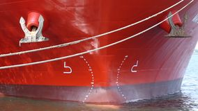 Front view of a big ship. Closeup, docked in the port stock video footage
