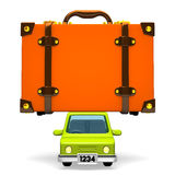 Front View Of Big Travel Luggage On Car Stock Photo