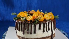 Front view of a biscuit cake. Pie with fruits and flowers. Close up front view cookie and cream cake. The chocolate cake Royalty Free Stock Photo