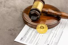 Front view of Bitcoin cryptocurrency physical coin stock photography