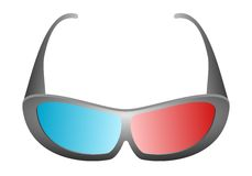 Front view of black design 3D movie glasses for cinema and 3D TV with blue and red glass on a white background Royalty Free Stock Photography