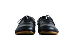 Front view of black leather shoes isolated on white Royalty Free Stock Photos