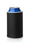 Front view of  black  neoprene can koozie holder. Isolated on white Stock Photos