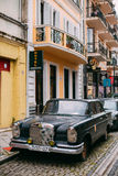 Front View Of Black Rarity Retro Mercedes Benz Car Parked On Nar. Batumi, Georgia - May 28, 2016: The Front View Of Black Rarity Retro Mercedes Benz Car Parked Royalty Free Stock Image