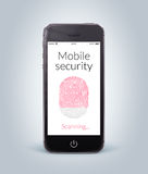 Front view of black smart phone with mobile security fingerprint Stock Photography