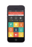Front view of black smart phone with smart home application on t Stock Photo