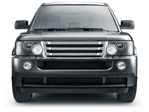 Front view of black suv car. Front view of suv car on a white background Stock Photos