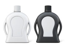 Front view black and white bottles with detergent. Plastic bottle with blank label for your design. 3d rendering Royalty Free Stock Photo