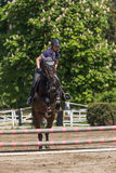 Front view of blonde horsewoman jumping Stock Photo