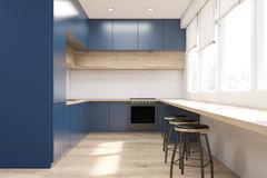 Front view of blue kitchen Stock Image