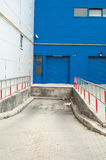 Front view of blue loading docks Stock Images