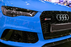 Front view of a blue modern luxury blue sport car Audi RS 6 Avant Quattro 2017. Car exterior details. Royalty Free Stock Photography