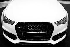 Front view of a blue modern luxury blue sport car Audi RS 6 Avant Quattro 2017. Car exterior details. Black and white. Stock Image