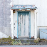 Front view of a boarded-up abandoned building in Iceland Royalty Free Stock Image