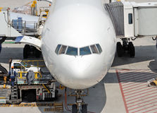 Front view of the boeing aircraft Royalty Free Stock Photo