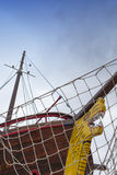 Front view, bow, of fresh painted ship Royalty Free Stock Photography