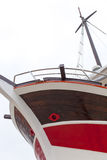 Front view, bow, of fresh painted ship Stock Images