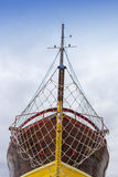 Front view, bow, of fresh painted ship Stock Photos