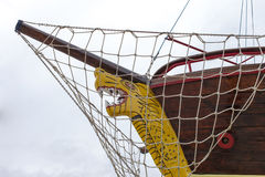 Front view, bow, of fresh painted ship Royalty Free Stock Photo