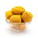Front view of Bowl of Organic Round Turmeric. Royalty Free Stock Photos
