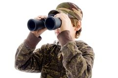 Front view boy viewing through binoculars Royalty Free Stock Photography