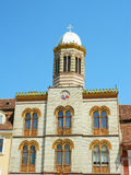 Front view of Brasov synagogue in mai town square, Romania. Front view of synagogue in main town square of Brasov, Romania with it's  architectural details and Royalty Free Stock Images