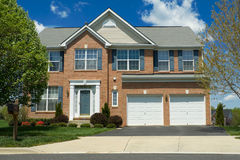 Front View Brick Single Family Home Suburban MD Stock Images