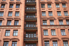 Front View Of Brick Wall Contemporary Apartment Bu Stock Images