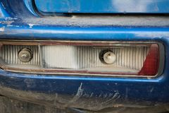 Front view of broken tail light royalty free stock photography