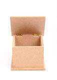 Front view of brown wooden box Royalty Free Stock Photography