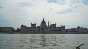 Front view of Budapest Parliament stock footage
