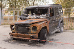 Front view of the burned large SUV Stock Image