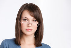 Front view of business woman in glasses Royalty Free Stock Photography