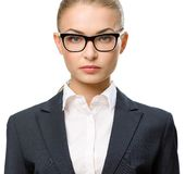 Front view of businesswoman in glasses Stock Image